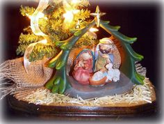 Nativity Table Top Christmas Tree 12 Miniature by AbodeDecorGifts