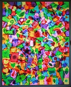 Tissue Paper & Glue Collage: Aaaw, live a little and let the kids go at a window and create stunning stained glass. Tissue Paper Art, Paper Glue, Stained Glass Cookies, Stained Glass Art, Craft Projects For Kids, Art Projects, Craft Ideas, Kids Crafts, Summer Crafts
