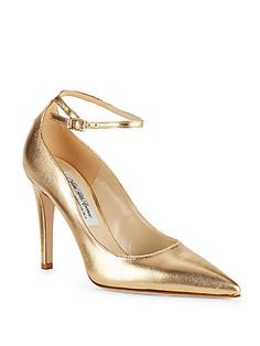Saks Fifth Avenue Made in Italy Ankle Strap Leather Pumps - Gold - Siz