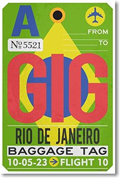 GIG  Rio De Janeiro  Airport Tag  NEW Travel Poster *** Learn more by visiting the image link.
