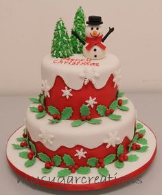 two tier christmas cake - Google Search
