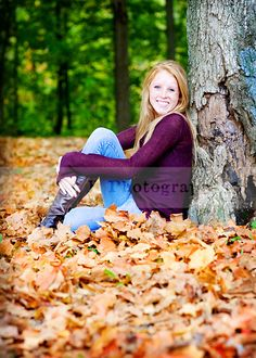Senior picture idea for girls. I like the idea of in the fall leaves
