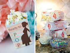 Ready to Pop popcorn treats for baby shower