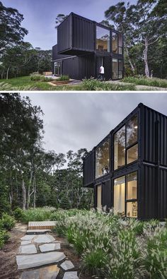 MB Architecture has designed a modern shipping container house for a family of five, that& located on a wooded site in Amagansett, New York. Cargo Container Homes, Shipping Container Home Designs, Building A Container Home, Container House Design, Shipping Containers, Container Cabin, Container Store, Container Architecture, Sustainable Architecture