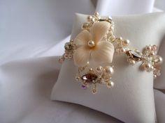 Ivory Bridal Bracelet  Swarovski Crystal & by LysaCreation on Etsy, $85.00