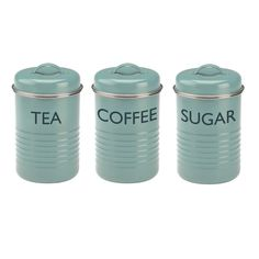 Zestaw 3 niebieskich pojemników na herbatę, kawę, cukier Typhoon Vintage