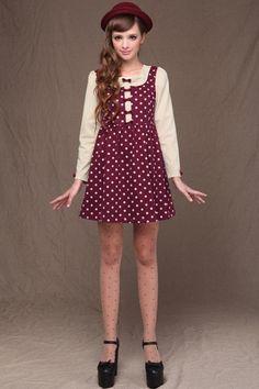 OASAP - Bowknot Embellished Polka Dot Dress - Street Fashion Store #lovely