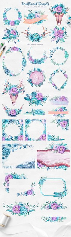 llustrations include arrows and keys, dream catchers, skulls and horns, flowers, seashells, delicate watercolor textures, wooden objects, beads, seamless patterns, wreaths and bouquets, feathers, and flowers and fronds – plus wedding inviations. These vectorized works look spectacular on shirts, canvas bags, and other textiles, as well as on cards and announcements of all kinds. #watercolor #kidsdesign #frame #flower #textile #t-shirtdesign