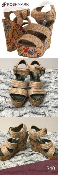 Steve Madden The Cool People Floral Cork Wedges good used condition.  Slightly soiled. Steve Madden Shoes Wedges