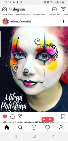 Face Painting Halloween Kids, Clown Face Paint, Girl Face Painting, Face Painting Tips, Face Painting Tutorials, Map Painting, Skull Painting, Face Painting Designs, Body Painting