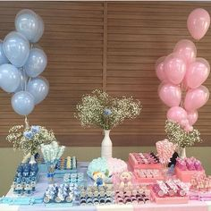 Gender Reveal Party 'Look how beautiful this revelation tea I found in IG … Gender Reveal Party Games, Gender Reveal Themes, Gender Reveal Balloons, Gender Reveal Party Decorations, Gender Party, Reveal Parties, Birthday Decorations, Simple Gender Reveal, Pregnancy Gender Reveal