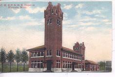 Missoula Montana C M P s 1908 Railroad Station Train Depot Vintage Postcard