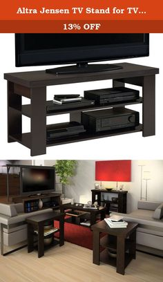 """Altra Jensen TV Stand for TVs up to 47"""", Espresso. Store your home theater gear and entertainment components neatly on the contemporary Altra Jensen 47"""" TV Stand. This attractive TV Stand offers clean lines and a sturdy build. Designed to accommodate up to a 47"""" flat screen TV, this Stand offers plenty of room for your system components underneath. Two lower shelves feature an open design with space for your cable box, DVD player, video game console or other systems. Simple, yet stylish…"""