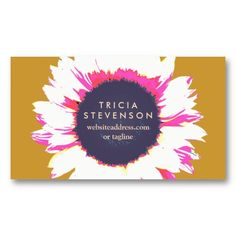 Modern Colorful SunFlower Flowers Business Card #businesscards #template #business #card #profile #office #retro #vintage #classic #classy #elegant #stylish #trendy #unique #design #fashion
