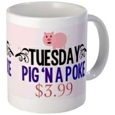 Tuesday Special: Pig 'N a Poke. Cute Supernatural mug for the cafe that Sam & Dean keep going to on their version of Groundhog Day. http://www.cafepress.com/quotabletv.1256001412 #supernatural
