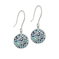 Marrakech Mother of Pearl and Blue Enamel Stainless Steel Mosaic Disc Drop Pierced Earrings