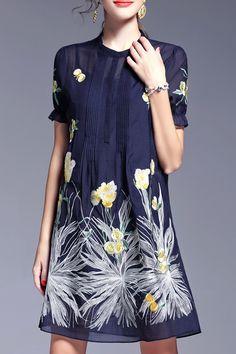 Dresses For Women - Shop Designer Dresses Online Fashion Sale Fashion Sale, Fashion Outfits, Floral Embroidery Dress, Casual Formal Dresses, Yves Saint Laurent, Knee Length Dresses, Lovely Dresses, Buy Dress, Dress To Impress