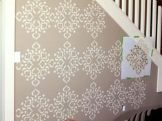How To Stencil A Focal Wall Living Room And Dining Room Stencil Designs For Walls