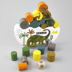 Floss & Rock - Dinosaur Balancing Game- My son absolutely loves dinosaurs and this combines dinosaurs and educational fun. It is the perfect match for him. Color Blocking, Colour Block, Little Man, Wooden Toys, Rock, Games, Dinosaurs, Simple, Cotton Babies