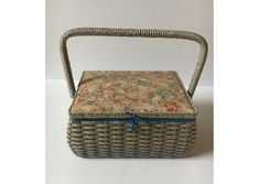 Mid Century Wicker Sewing basket, Vintage Sewing Storage, Woven storage box w divider, Country basket w handle, Collectors,, Pin cushion top by KyriesTreasureChest on Etsy