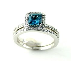 14K London Blue Topaz Engagement Ring & Matching Band by RareEarth, $1472.00