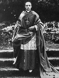 Cardinal Pacelli.   (Pope Pius XII) wearing his diamond and emerald pectoral cross.