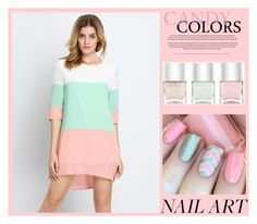 """""""Candy Colors"""" by seadbeady ❤ liked on Polyvore featuring beauty, Nails Inc. and pinkandgreen"""