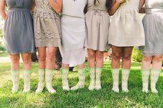 bridesmaids in wellies - photo by Mike Olbinski http://ruffledblog.com/backyard-texas-wedding