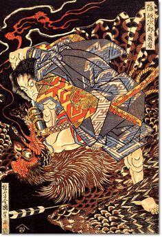 Japanese Samurai Warrior Fighting a Nue Gobling, Ukiyo-e Print, Vintage Woodblock Art, Utagawa Kuniyoshi by GoodGirlCards on Etsy