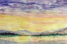 Sunset Over Wetlands. Watercolor 14 x 22 on paper. Matted to 18 x 24  $500. + shipping. Paintings, Watercolor, Sunset, Paper, Art, Pen And Wash, Art Background, Watercolor Painting, Paint