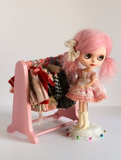 Blythe Closet Clothes Rack Candy Pink Jack and by UtterMabness
