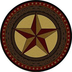 Tooled Leather Star Round Rug – is everything you want in a western style rug. The large western star is encircled by a layered look, with the outside resembling a tooled leather pattern.