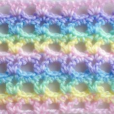 #Crochet_Stitch - Lacy Interrupted V-Stitch - So simple and so pretty for an Easter baby blanket!