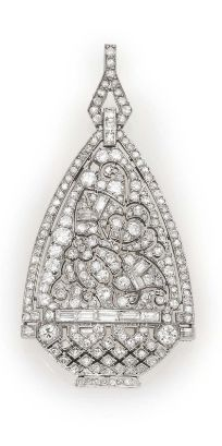 AN ART DECO DIAMOND AND PLATINUM PENDANT BROOCH Designed as a stylized flower pot set with circular, baguette and single-cut diamonds, two diamonds deficient, mounted in platinum, circa 1925, with French assay marks