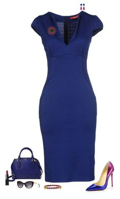 """Blue & magenta"" by julietajj on Polyvore featuring Christian Louboutin, Maiocci, Merona, Versace, NARS Cosmetics and LeiVanKash"