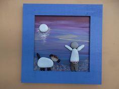pebble art,child and dog