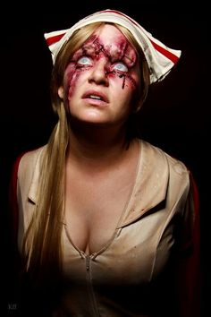 Cool zombie nurse cosplay with a sexy pair of blue eyes