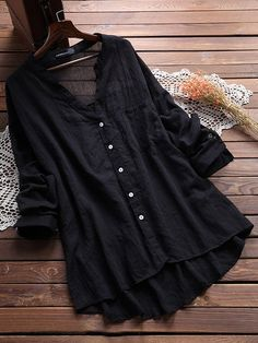 Casual V Neck Pure Color Blouses for Women can cover your body well, make you more sexy, Newchic offer cheap plus size fashion tops for women Mobile. Kurta Designs, Stylish Dresses, Fashion Dresses, Look Cool, Look Fashion, Spring Fashion, Womens Fashion, Blouses For Women, Women's Blouses