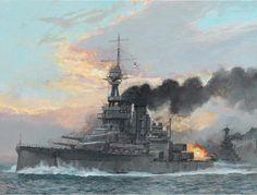 Un clase King George V durante la batalla de Jutlandia. Cuatro buques comisionados a partir de 1912, de 23.400 t, 21 nudos de andar, armados con diez piezas de 343 mm y 16 de 102, con una cintura acorazada que alcanzaba un espesor máximo de 305 mm. Obra de Paul Wright. Más en www.elgrancapitan.org/foro