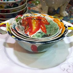 Gorgeous (if not altogether practical) hand painted measuring cups from #Anthropologie. Love, love, love!