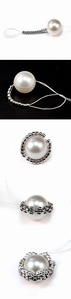 Interesting way to start beading around a bead...