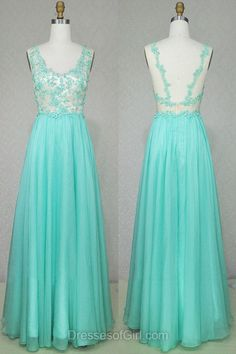 Turquoise Prom Dresses, V Neck Prom Dress, Aline Evening Gowns, Chiffon Party Dresses, Open Back Formal Dresses
