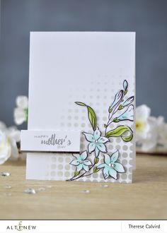 Mother's Day Card. The leaves and flowers of the Extra Special stamp set are colored with Altenew Artist Markers. www.altenew.com