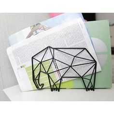 LEF collections Briefhalter Organizer Elefant aus Metall, schwarz, L20xH14,7xD8,8cm