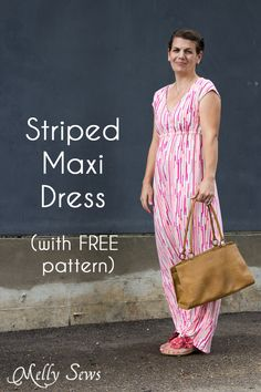 Sew a women's maxi dress with this tutorial and free pattern.