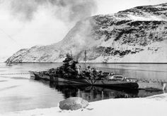German battleship Tirpitz hiding in her Norwegian fjord.