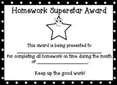 homework award certificate