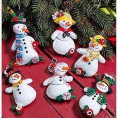 Bucilla apliques de fieltro Decoración del Hogar Kit ~ Let It Nieve Adornos juego de 6 #86668