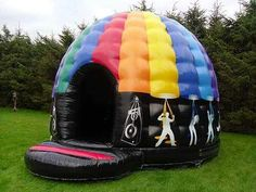 """This is a disco dome nicknamed the """"Party Pod"""", it has a light and sound system inside, so you can have a bouncing disco!!!!!! :O I WANT"""