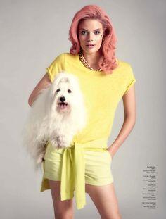 Fashion editorial Nelly Magazine Alena Blohm pink hair pastels cute dog Photography Per Norberg Stylist Felicia Carlsson Art direction Tammie Söderberg
